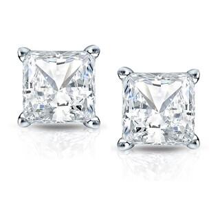 Auriya 14k Gold 1 1/2ct TDW Princess-Cut Diamond 4-Prong Basket Push-Back Stud Earrings (H-I, SI1-SI2)