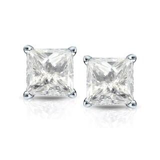 Auriya 14k Gold 1 1/2ct TDW Princess-Cut Diamond 4-Prong Basket Push-Back Stud Earrings (J-K, I2-I3)