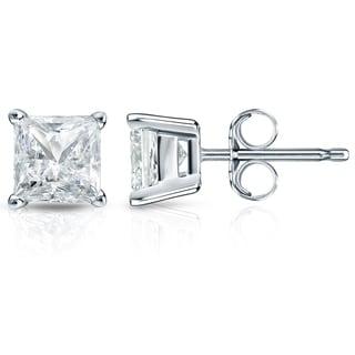 Auriya 14k Gold 2ct TDW Princess-Cut Diamond 4-Prong Basket Push-Back Stud Earrings (I-J, SI2-SI3)