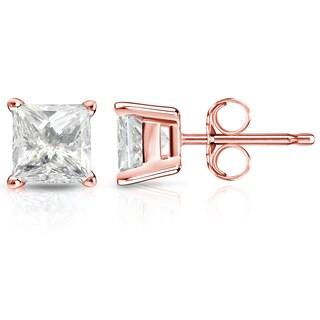 Auriya 14k Gold 2ct TDW Princess-Cut Diamond 4-Prong Basket Push-Back Stud Earrings (J-K, I2-I3)