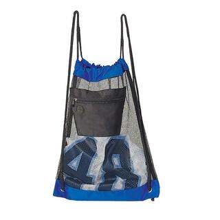 Goodhope Blue/Black Mesh Drawstring Backpack