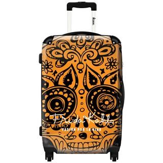 iKase 'Frida Kahlo Skull Head Orange' 24-inch Fashion Hardside Spinner Suitcase