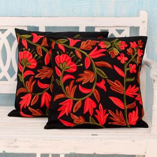 Set of 2 Handcrafted Cotton 'Poppies at Midnight' Cushion Covers (India)