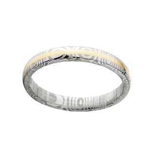 Men's Damascus Steel and 14k Gold 4-millimeter Domed Ring