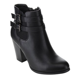 Pazzle Women's GD62 Chelsea Style Buckle Strap Chunky Heel Ankle Booties