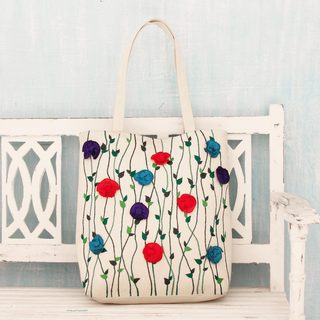Handcrafted Cotton 'Garden Glamour' Tote Handbag (India)