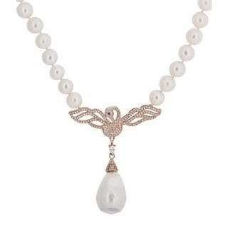 Flat Bird Freshwater Pearl Necklace with Cubic Zirconia Stones