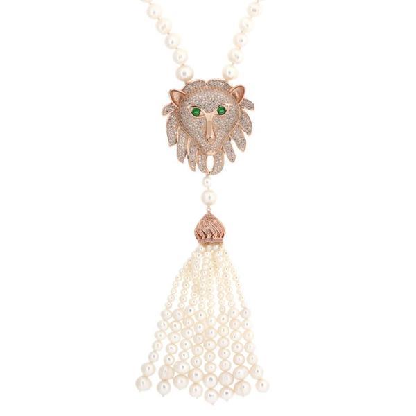 18k Rose Gold Freshwater Pearl Necklace with Lion Charm