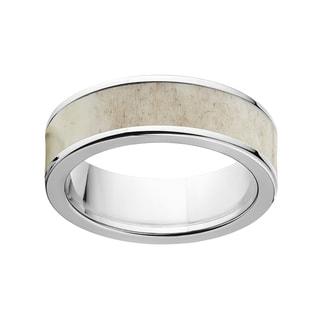 Men's Two-tone Titanium 7-millimeter Flat Antler Ring
