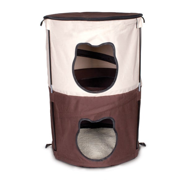 Ware Kitty Beige/Brown Canvas Pop-Up Two-level Condo