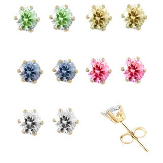 5 Pairs Multi Colored Cubic Zirconia Stud Earrings Goldtone Stainless Steel Posts