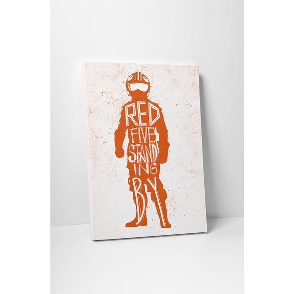 Jackie Star Wars Quotes 'Red Star' Gallery Wrapped Canvas Wall Art