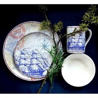 222 Fifth Clipper Blue Porcelain 16-piece Dinnerware Set