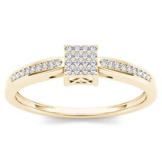 De Couer 10k Yellow Gold 1/10ct TDW Diamond Cluster Engagement Ring (H-I, I2)
