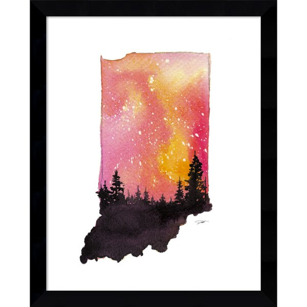 Framed Art Print 'Indiana State Watercolor' by Jessica Durrant 12 x 15-inch