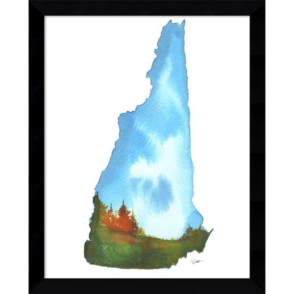 Framed Art Print 'New Hampshire State Watercolor' by Jessica Durrant 12 x 15-inch