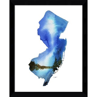 Framed Art Print 'New Jersey State Watercolor' by Jessica Durrant 12 x 15-inch