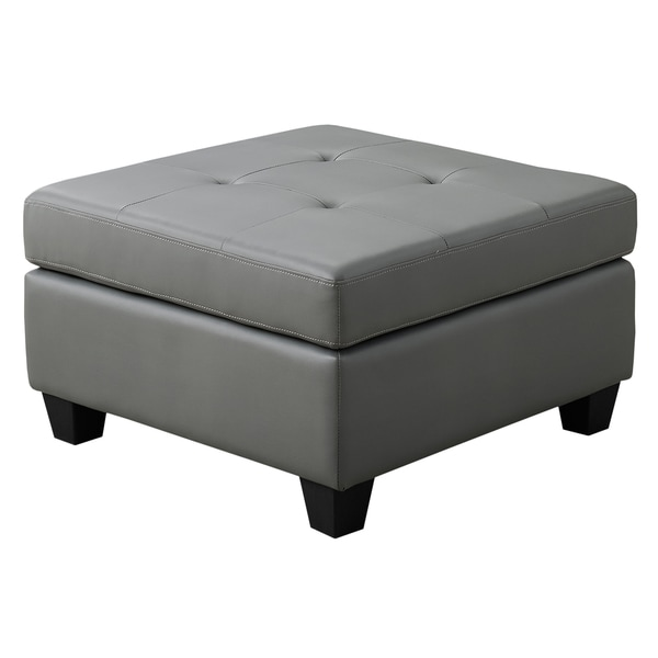 Light Grey Bonded Leather Ottoman