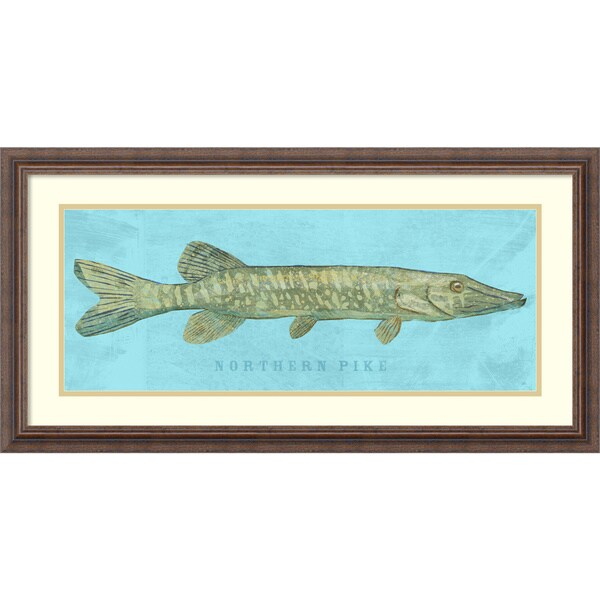 Framed Art Print 'Northern Pike (Fish)' by John W. Golden 31 x 16-inch