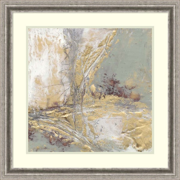 Framed Art Print 'Gilded Circuit II (Abstract)' by Jennifer Goldberger 26 x 26-inch