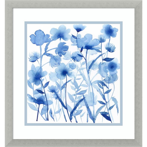 Framed Art Print 'Cobalt Sway I: Floral' by Grace Popp 17 x 17-inch