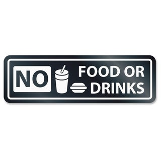 U.S. Stamp & Sign No Food Or Drinks Window Sign - White
