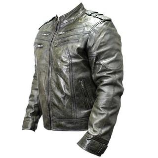 Men's Green Sheep Skin Leather Jacket