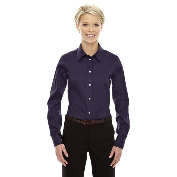 Crown Women's Collection Deep Purple Solid Stretch Twill Dress Shirt