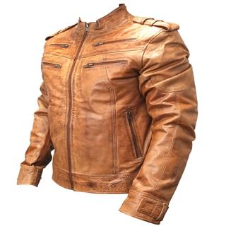 Perrini Men's Brown Genuine Sheep Skin Leather Jacket