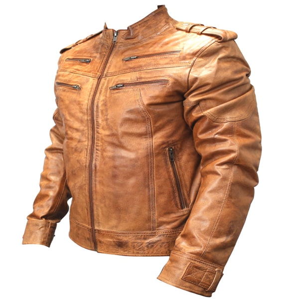 Perrini Men's Brown Genuine Sheep Skin Leather Jacket