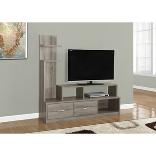 Dark Taupe Wood-Grain Look TV Stand and Display Tower
