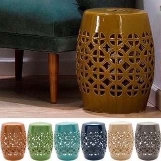 Akio Ceramic/Porcelain Outdoor Stool (13 x 13 x 18)