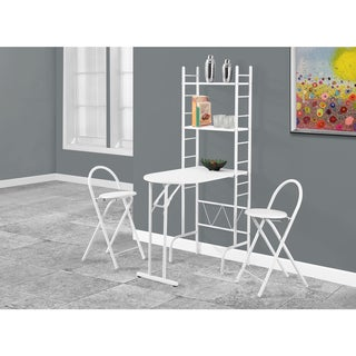 White Metal 3-Piece Dining Set with Shelving Unit