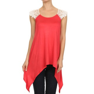 MOA Collection Women's Top with Crochet Trim Shoulders