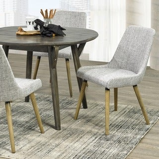 Mia Set of 2 Grey Fabric Side Chairs