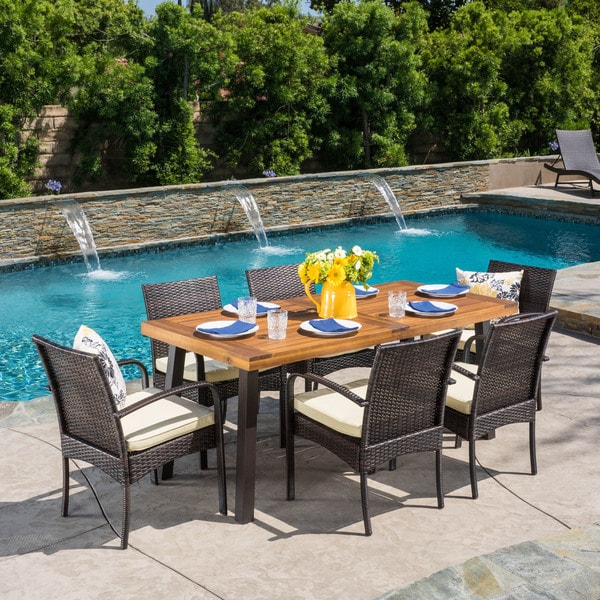 Bavaro Outdoor 7-piece Rectangle Dining Set with Cushions by Christopher Knight Home -  298896