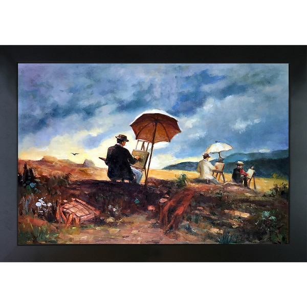 Winslow Homer 'Artists Sketching in the White Mountains' Hand Painted Framed Canvas Art