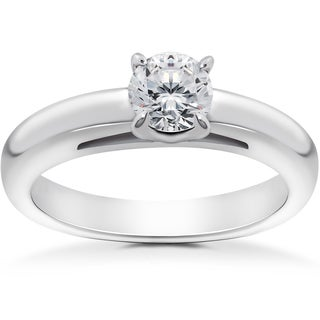 14k White 1/2ct Round Brilliant Cut Diamond Solitaire Engagement Ring (I-J,I2-I3)