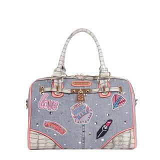 Nicole Lee Athena Patch Print Boston Handbag