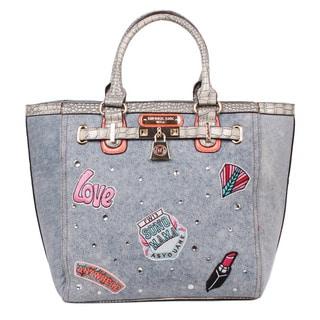 Nicole Lee Athena Faux Leather Patch Print Tote Bag