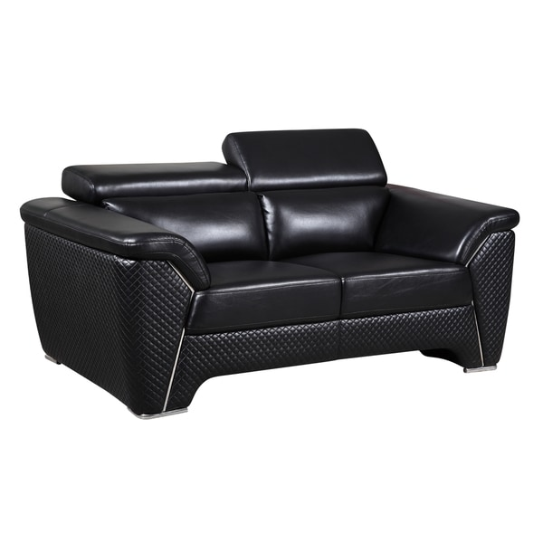 Black Embroidered Faux-Leather Loveseat