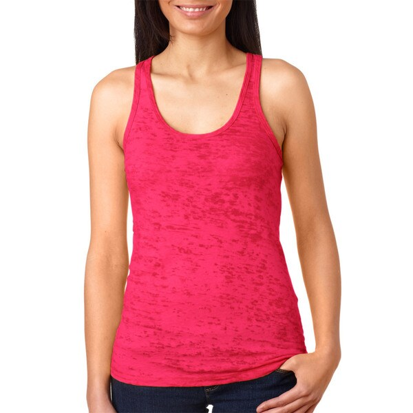 Next Level Women's Shocking Pink Burnout Racerback Tank