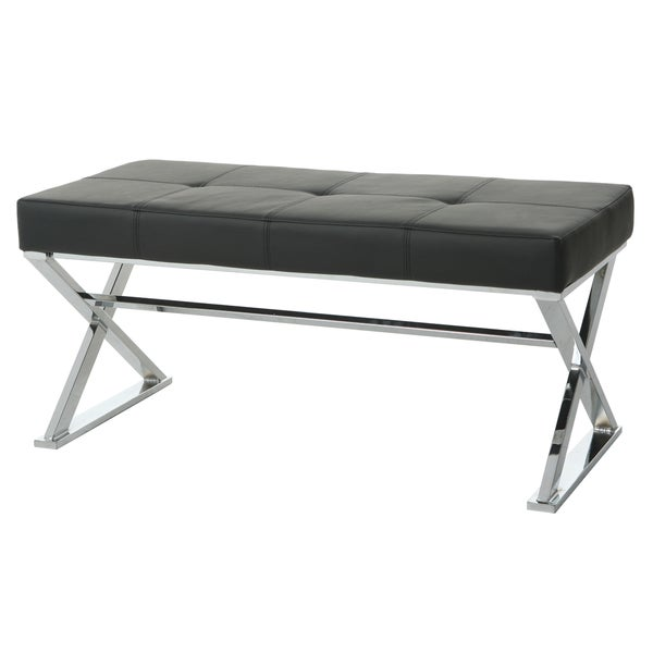 Neuville Black Faux Leather Padded Bench