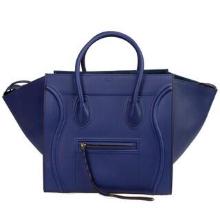 Celine Phantom Meidum Blue/Silver Hardware Luxirious Leather Handbag