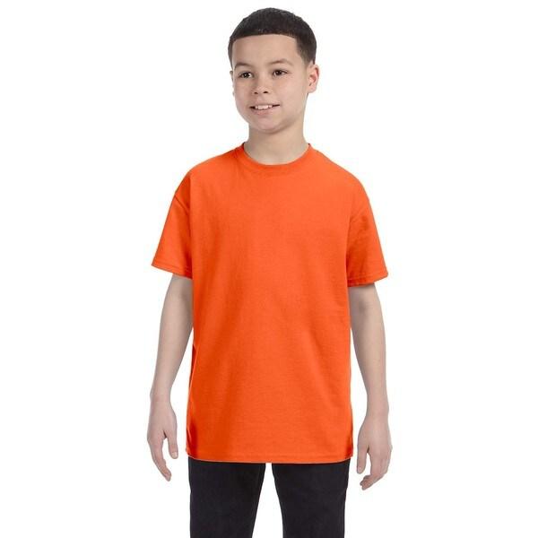 Boys' Orange Heavy Cotton T-Shirt