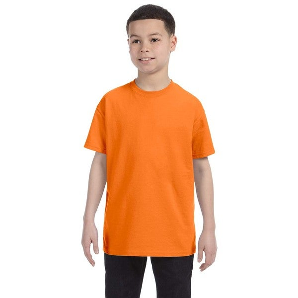Boys Orange Heavy Cotton Safety T-shirt