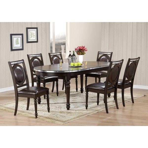 Brown Wood with Faux Leather Dining Chair