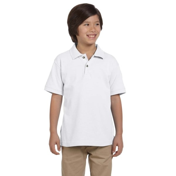 Boys' Ringspun Cotton Pique Short-Sleeve White Polo