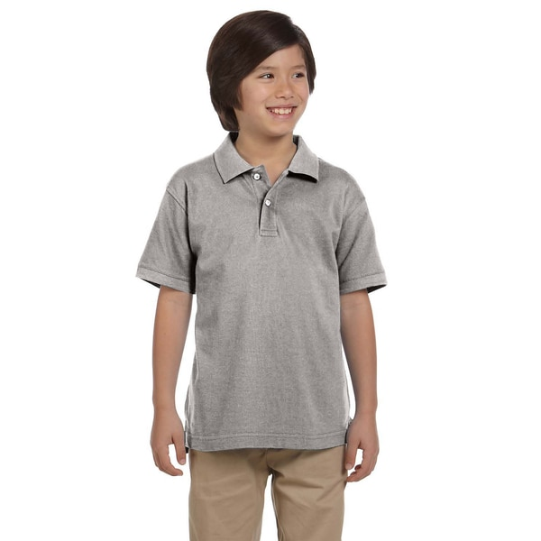 Boys' Ringspun Cotton Pique Short-Sleeve Grey Heather Polo