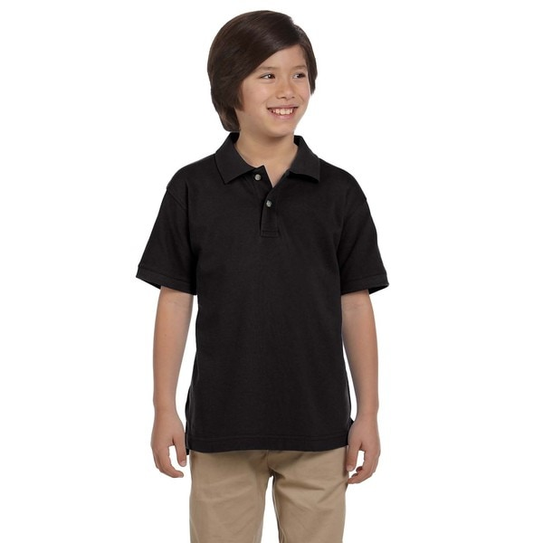 Boys' Ringspun Cotton Pique Short-Sleeve Black Polo